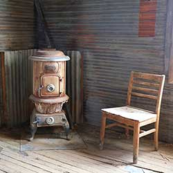 wodstove at the Tonopah Historic Mining Park